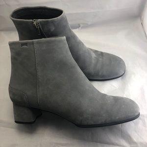 Camper Grey Suede Low Heel Booties size 41